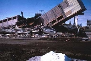 Collapse of the newly completed Four Seasons Apartment Building in Anchorage during the 1964 earthquake