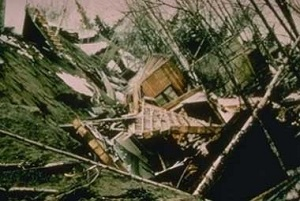 Destruction of homes in the Turnagain Heights subdivision of Anchorage during the 1964 earthquake.